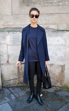 Car coat, bag and sunglasses