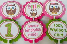 12 Look Whoo's One Owl Girl Cupcake Toppers