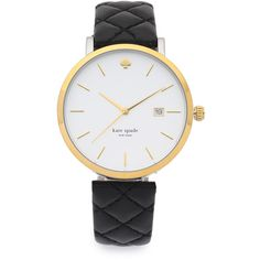 Kate Spade New York Metro Grand Quilted Watch (730 PLN) ❤ liked on Polyvore featuring jewelry, watches, accessories, black, water resistant watches, black jewelry, kate spade watches, slim watches and black wrist watch