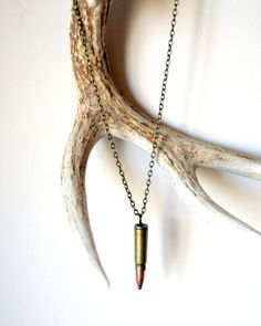 Bullet Necklace - vintage bullet, antiqued brass chain, men, military, unisex fashion on Etsy, $26.00