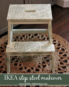 Ikea step stool makeover with chalky paint (Diy Step Stool) Stool, Refurbished Furniture, Painted Furniture, Ikea Stool, Ikea, Stool Makeover, Painted Chairs, Ikea Step Stool, Wood Step Stool