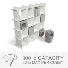 Modern Cubby Storage Shelves by Sprout are very durable, and hold up to a 30 lbs per cubby!