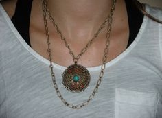 one side of a double sided vintage necklace available at Michele Lee Designs
