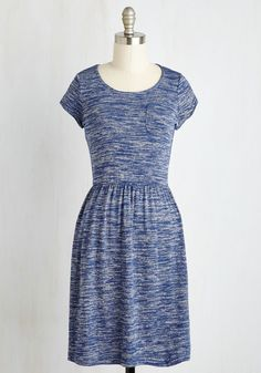 Casual Inclination Dress. Even when the day is relaxed, you opt to look your best, choosing this heathered navy A-line! #blue #modcloth