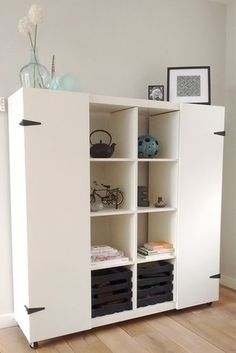 """Ikea hack Expedit - to """"hide"""" the homeschool things for a clean look."""