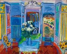 Interior With Open Window by Raoul Dufy Handmade oil painting reproduction on canvas for sale,We can offer Framed art,Wall Art,Gallery Wrap and Stretched Canvas,Choose from multiple sizes and frames at discount price. Raoul Dufy, Harlem Renaissance, Inspiration Art, Open Window, Oil Painting Reproductions, Henri Matisse, Art And Illustration, French Artists, Oeuvre D'art