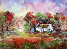 Walking the Dogs - Louis Pretorius art Building Painting, Love Painting, Oil Painting On Canvas, Landscape Art, Landscape Paintings, Landscapes, Watercolor Trees, Watercolor Paintings, South African Art