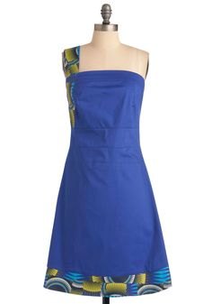 Wax Works Dress by Skunkfunk - Mid-length, Blue, Green, Grey, White, Print, Party, A-line, One Shoulder