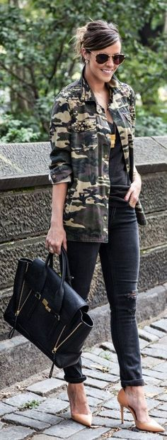 A Walk In The Park ~ Gold aviators, black, camouflage, black gold purse
