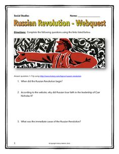 Russian Revolution - Webquest with Key (History.com) 6 page webquest and teachers key related to the basics of the Russian Revolution. It contains 12 questions from the history.com website and the Alpha History website.