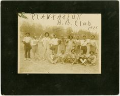"Cabinet card photograph of an African American baseball team called the Plantation Baseball Club, circa 1911. The name ""Green Allen"" is written over one of the players. G4792.1"