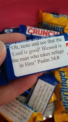 simply print out bible verse on labels & stick to back of candy.:)candy- simply print out bible verse on labels & stick to back of candy.