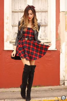 FashionCoolture - 03.07.2015 look du jour plaid dress leather jackets over knee boots (6)