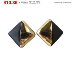 ON SALE Trifari Black Enamel Clip Earrings Gold Tone Square