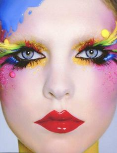 rainbow/multi color make-up Clown Makeup, Costume Makeup, Carnival Makeup, Face Makeup, Clown Hair, Circus Makeup, Doll Makeup, Make Up Art, Eye Make Up