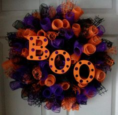 BOO...Spiral Deco Mesh Wreath by ADoorableCreations05 on Etsy, $50.00. I love it!!!