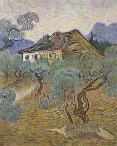 Vincent van Gogh - A Farmhouse among the Olive Trees, 1889
