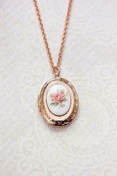 Rose Gold Locket Necklace with a Vintage Pink Rose Cameo