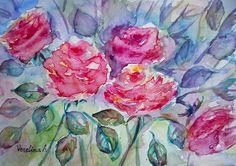 Roses d'impression art, roses imprimables, téléchargeable impression, floral print, aquarelle tableau bouquet de roses, fleurs en aquarelle, aquarelle floral imprimé