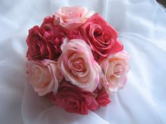 Wedding Bouquet Pink Roses and Hydrangea by DESIGNSBYDME on Etsy, $45.00