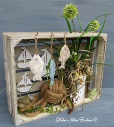 Arrangement maritime … stylish wooden box to stand or hang … … a large rope knot, white sailboats, anchor … … carved fish, shells, seaweed … A very special … Source by Royogirl Seashell Crafts, Beach Crafts, Home Crafts, Diy And Crafts, Cactus Y Suculentas, Shell Art, Deco Table, Decoration Table, Crafty Projects