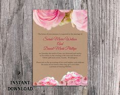 Wedding Invitation Template Download Printable Invitation Editable - Diy rustic wedding invitations templates