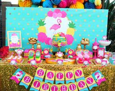Flamingo Birthday Cake Topper and Pineapple Party por EMTsweeetie