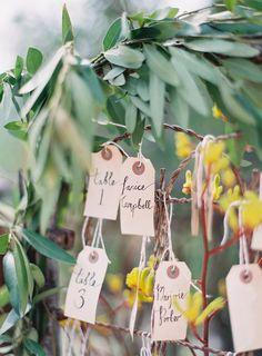 Find your name :: Malibu Wedding :: Photography Kurt Bomer :: Pretty Vintage Rentals #Malibu #wedding #events #seating #chart  #parceltag #handwritten #greenery #garland #gate #seatingchart