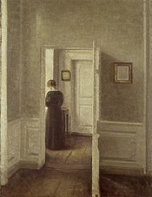 Woman in a bright interior by Vilhelm Hammershøi (1864-1916), Danish artist of the 'Copenhagen Interior School' whose interiors evoked both calm and mystery. He was known for his poetic, low-key portraits and interiors. His wife figures in many of his interiors, often depicted from behind. He always opted for a palette of greys, as well as desaturated yellows, greens, and other dark hues. His figures turned away from the viewer give an air of slight tension and mystery (wiki) -  (hammershoi…