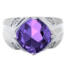 White Gold Men's Large Amethyst and Diamond Ring Gemologica.com offers a large selection of rings, bracelets, necklaces, pendants and earrings crafted in 10K, 14K and 18K yellow, rose and white gold and sterling silver for that special dad. Our complete collection and sale of personalized and custom gifts for dad: www.gemologica.com/mens-jewelry-c-28.html