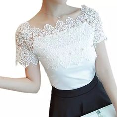Cheap white blouse, Buy Quality blouse off directly from China elegant blouse Suppliers: Women Lace Patchwork Blouse Shirt Casual Off Shoulder Top Sexy Short Sleeve White Blouse Ladies Summer Hollow Elegant Blouses Casual Tops For Women, Blouses For Women, White Short Sleeve Blouse, White Lace Blouse, Lace Tops, Ladies Dress Design, Lehenga, Shirt Blouses, Blouse Designs