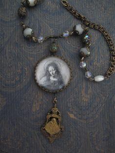 Serenity... vintage assemblage necklace