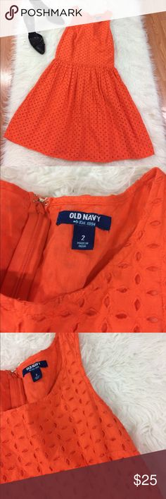 "Old Navy Orange Eyelet Dress Size 2 Pit to pit 16"" Waist 13.5"" Shoulder to hem 34"" Good condition Old Navy Dresses"