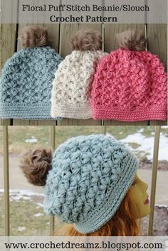 Winter Blossom Slouch Crochet Pattern, Options to Make a Regular Beanie or a a Slouchy Included