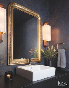 Beautiful powder room with white sink, gold framed mirror and dark walls in Texas condo Powder Room Decor, Powder Room Design, Powder Rooms, Powder Room Mirrors, Black Powder Room, Powder Room Lighting, Gold Powder, Wall Lighting, Home Design