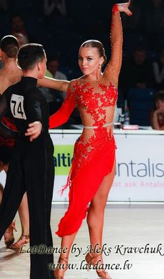 Lovely lace detailing on this Latin dance dress