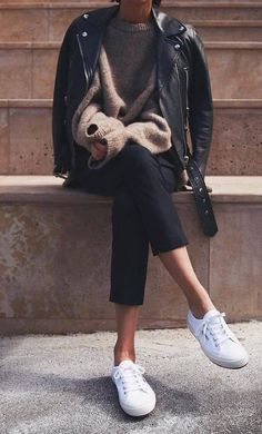 street style perfection / biker jacket + nude sweater + pants + white sneakers