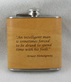 Hemmingway Flask with Hand Dyed Engraved Leather Wrap, Scotch, Whiskey, Personalized Flask, Engraved