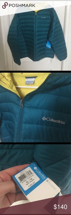 NWT Men's Columbia Puffer Jacket Down jacket . Elm Ridge Hooded jacket . NWT. Color is a dark teal . The inside is a yellow color. I bought this jacket for my boyfriend , and he ended up needing a large . Columbia Jackets & Coats