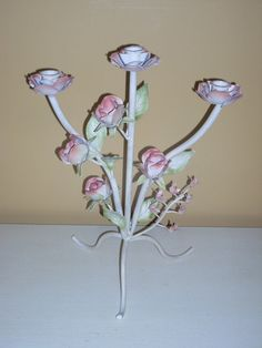 shabby chic TAPER CANDLE HOLDER floral candel by COTTAGEGOLD, $18.00