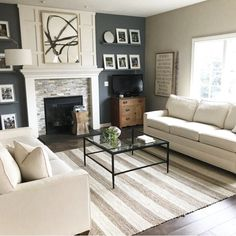 43 incredible farmhouse living room sofa design ideas and decor 41 Design Room, Sofa Design, Design Design, Creative Design, Living Room With Fireplace, My Living Room, Home And Living, Modern Living, Small Living Room Layout