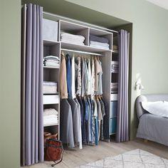 Bedroom Closet Design, Closet Designs, Home Decor Bedroom, Armoire Entree, Curtain Hangers, Rustic Wall Shelves, Hanging Room Dividers, Small Room Design, Bedroom Wardrobe