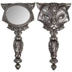 Alchemy Gothic Sacred Kitty Cat Hand Mirror Gaze into the glass long enough and you shall divine the feline prophesies of Ailouros, hearth spirit of the temple Alchemy, Gothic Mirror, Gothic Vanity, Egyptian Cats, Grunge Goth, Gothic Home Decor, Gothic House, Vanity Set, Dark Art