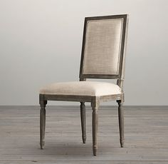 """Vintage French Square Upholstered Side Chair 