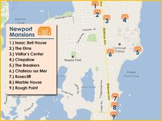 Gilded Age era mansions Newport, Rhode Island. Map with key, providing location information.