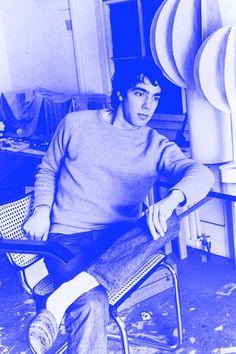 Derek Jarman in his studio in a derelict London Docks warehouse in 1970. Photograph: Ray Dean