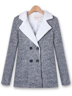 Casual Winter Long Sleeve Outwear Double-breasted Wool Coat