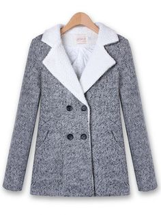 Casual Winter Long Sleeve Outwear Double-breasted Wool Coat