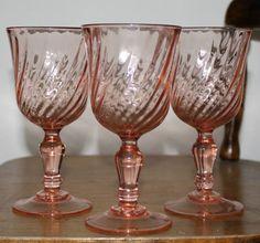 Vintage France Arcoroc Pink Swirl Rosaline Wine Glasses