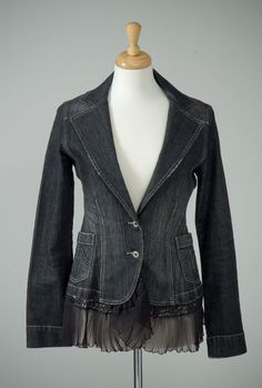 Womens repurposed black denim blazer jacket with by redeuxclothing, $115.00
